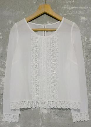 Креп-шифоновая блуза с ажурными вставками/свободный крой