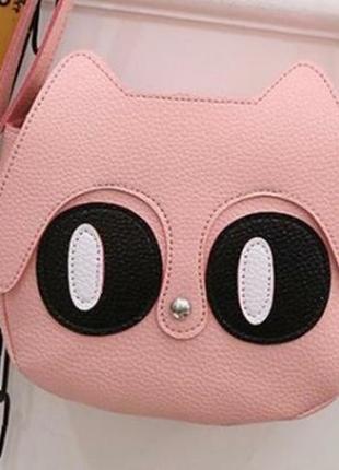 Есть выбор! новая крутая добротная розовая округлая круглая сумка кроссбоди котик кот2 фото