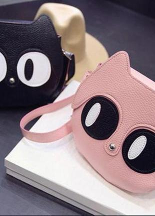 Есть выбор! новая крутая добротная розовая округлая круглая сумка кроссбоди котик кот1 фото