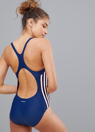 Синий слитный купальник с тремя полосками adidas