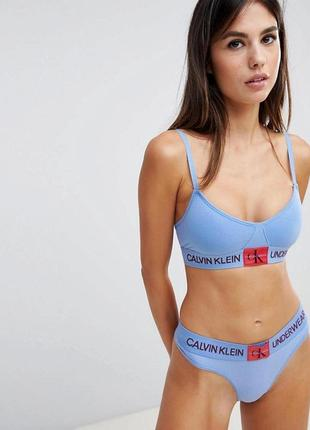 Синий бралетт без подкладки с монограммой calvin klein