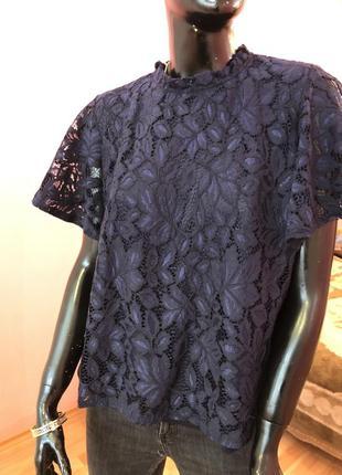 Блуза шикарная, темно синяя размер 48-50