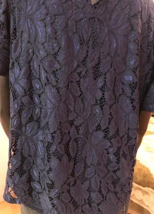 Блуза шикарная, темно синяя размер 48-509 фото