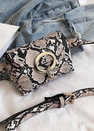 Новая миниатюрная  поясная сумка под рептилию змеиная кожа3 фото