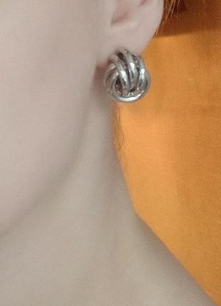 Серьги в стиле зара zara сережки серебро винтаж