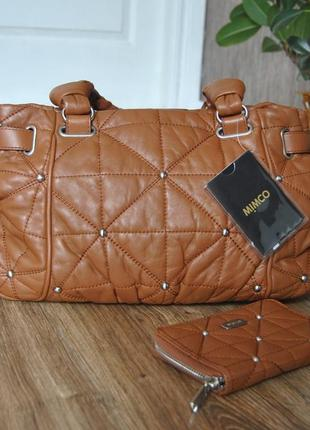 Кожаная сумка + кожаный кошелек mimco / шкіряна сумка