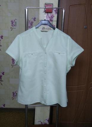 Лен и коттон! качественная фирменная блуза рубашка tu р.18