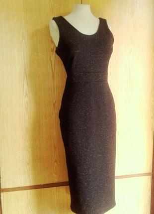 Черное с люрексом трикотажное платье- сарафан , xl