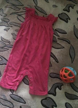 Летний розовый ромпер песочник комбинезон для девочки tu 9-12мес
