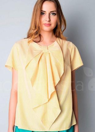 Милая желтая блуза в полоску с бантом на груди