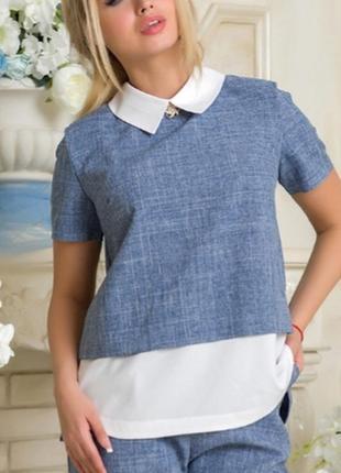 Легкая и красивая блуза джинсового цвета