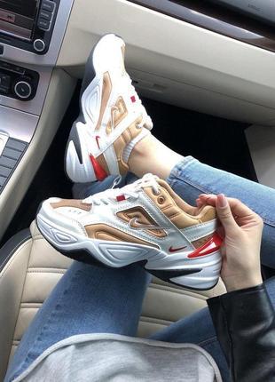 Красивые массивные кроссовки nike m2k из кожи /весна/лето/осень😍