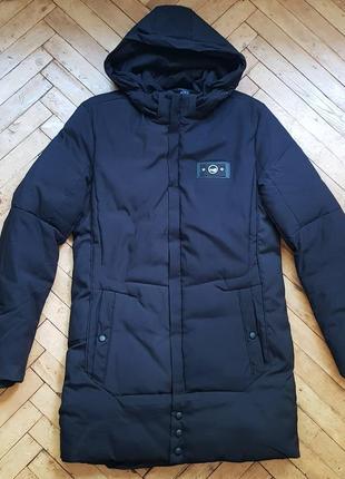 Зимний длинный пуховик-пальто