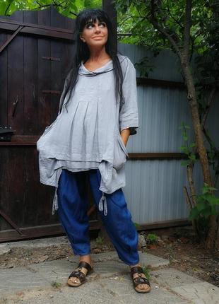 Италия блуза туника с карманами лен льняная studio бохо