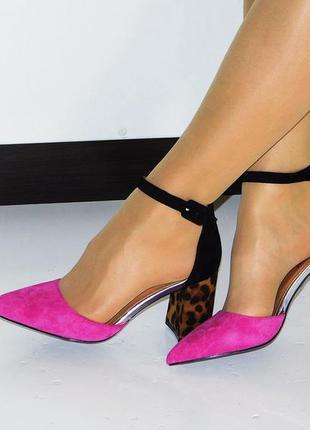 Туфли  с леопардовым каблуком