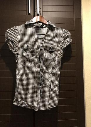 Стильная рубашка в мелкую клетку h&m