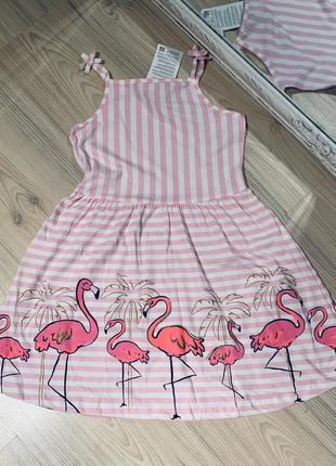 Платье из хлопка в розовую полоску с фламинго