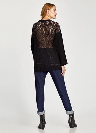 Блуза кофта свитшот с кружевом на спише  zara