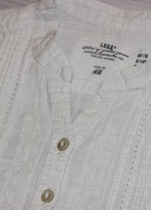Белоснежная рубашка h&m на 5-6л2 фото