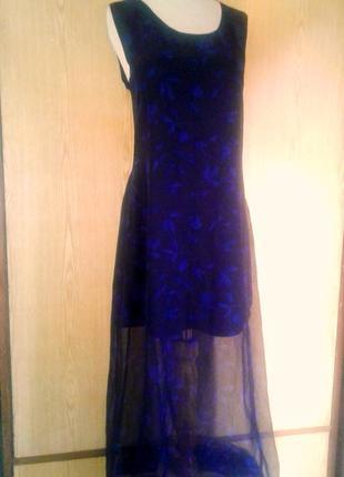 Шифоновое черное в синие цветы платье в пол, xl.