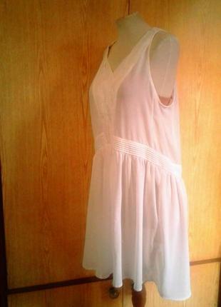 Белая крепдешиновая  туника - платье,m-l.3 фото