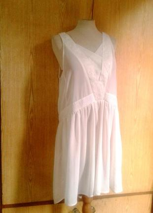 Белая крепдешиновая  туника - платье,m-l.4 фото