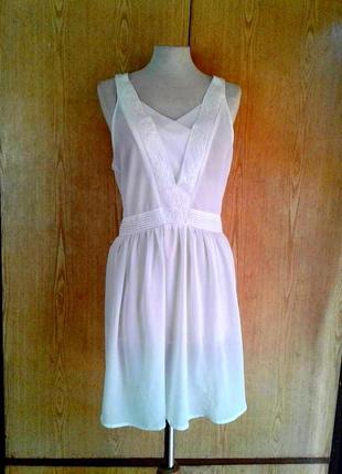 Белая крепдешиновая  туника - платье,m-l.1 фото