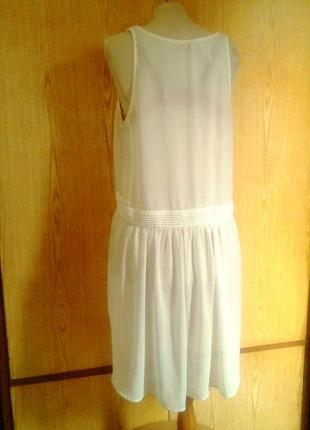Белая крепдешиновая  туника - платье,m-l.5 фото