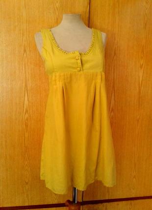 Катоновое платье желто-горчичного цвета , xs - m.