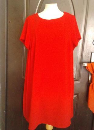 Красное алое струящееся прямое платье, 3хl.