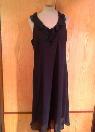 Шифоновое черное платье ровное в пол, 3xl.