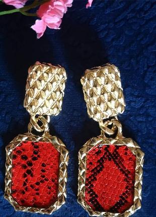 Серьги в стиле zara зара сережки змеиный принт