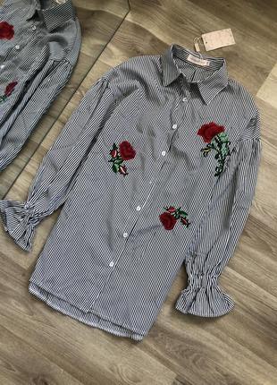 Рубашка в полосочку с розами