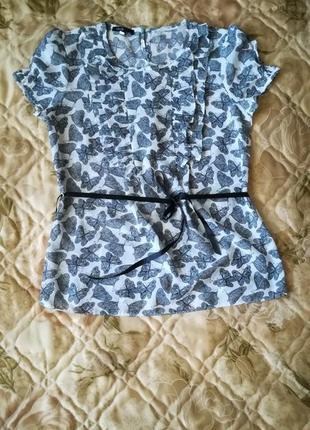 """Лёгкая шифоновая блуза, блузка в актуальный принт """"бабочки""""🌹"""