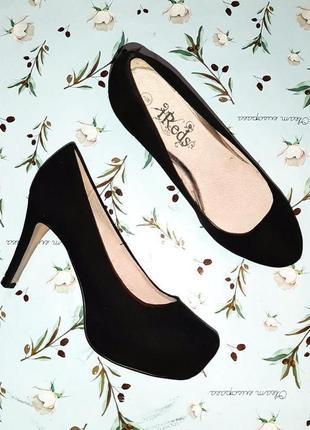 Акция 1+1=3 крутые классические черные замшевые туфли на каблуке шпильке, размер 36