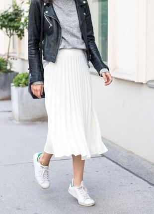 Гофрированная белая юбка, l.