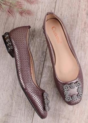 0a6ddc15f Бронзовые коричневые балетки туфли с красивым каблуком, цена - 399 ...