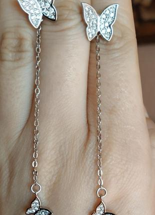 Серьги бабочки серебро трансформеры сережки4 фото