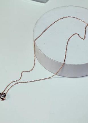 Камень на цепочке камушек подвеска украшение на шею золото