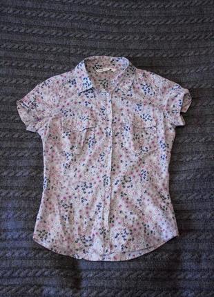 Рубашка oodji в цветочный принт, с коротким рукавом