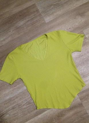 """Кроп топ""""полосатая в полоску лимонная кофточка футболка блузка xs-s"""