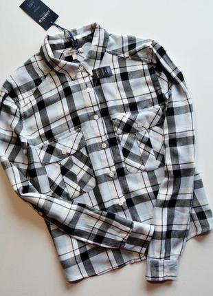 Трендовая оверсайз рубашка в клетку с длинным рукавом marks & spencer