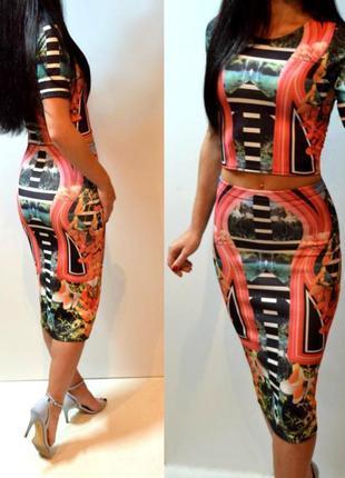 Новый стильный костюм(юбка и топ) 44 размер