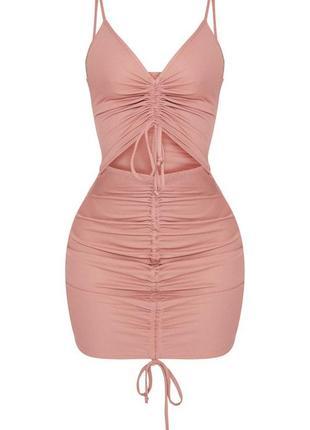Нежное розовое летнее платье на брительках в рубчик на завязках