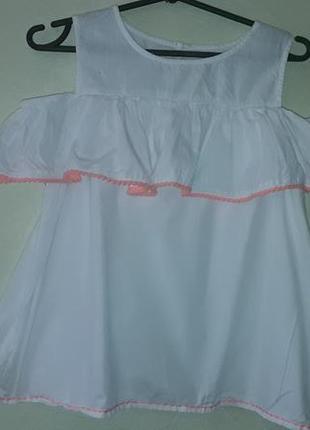 Стильная блузка открытые плечи 13-14 лет