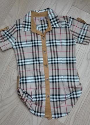 Удлиненная рубашка в клетку, на 9-10 лет