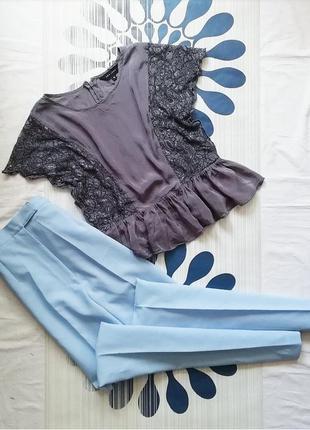 Укороченная блуза топ блузка оборками рюшами воланом кружевом кружевная серая