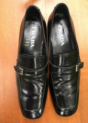 Отличные туфли,броги,оксфорды,макасины prada черные кожаные р.40.5 original2 фото