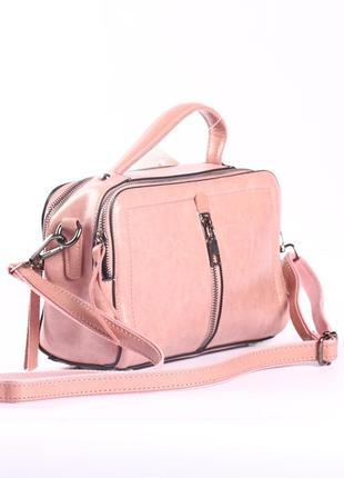 Стильная кожаная сумка, 2 ручки в комплекте
