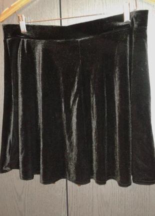 Бархатная черная юбка на резинке, размер 16/xxl.